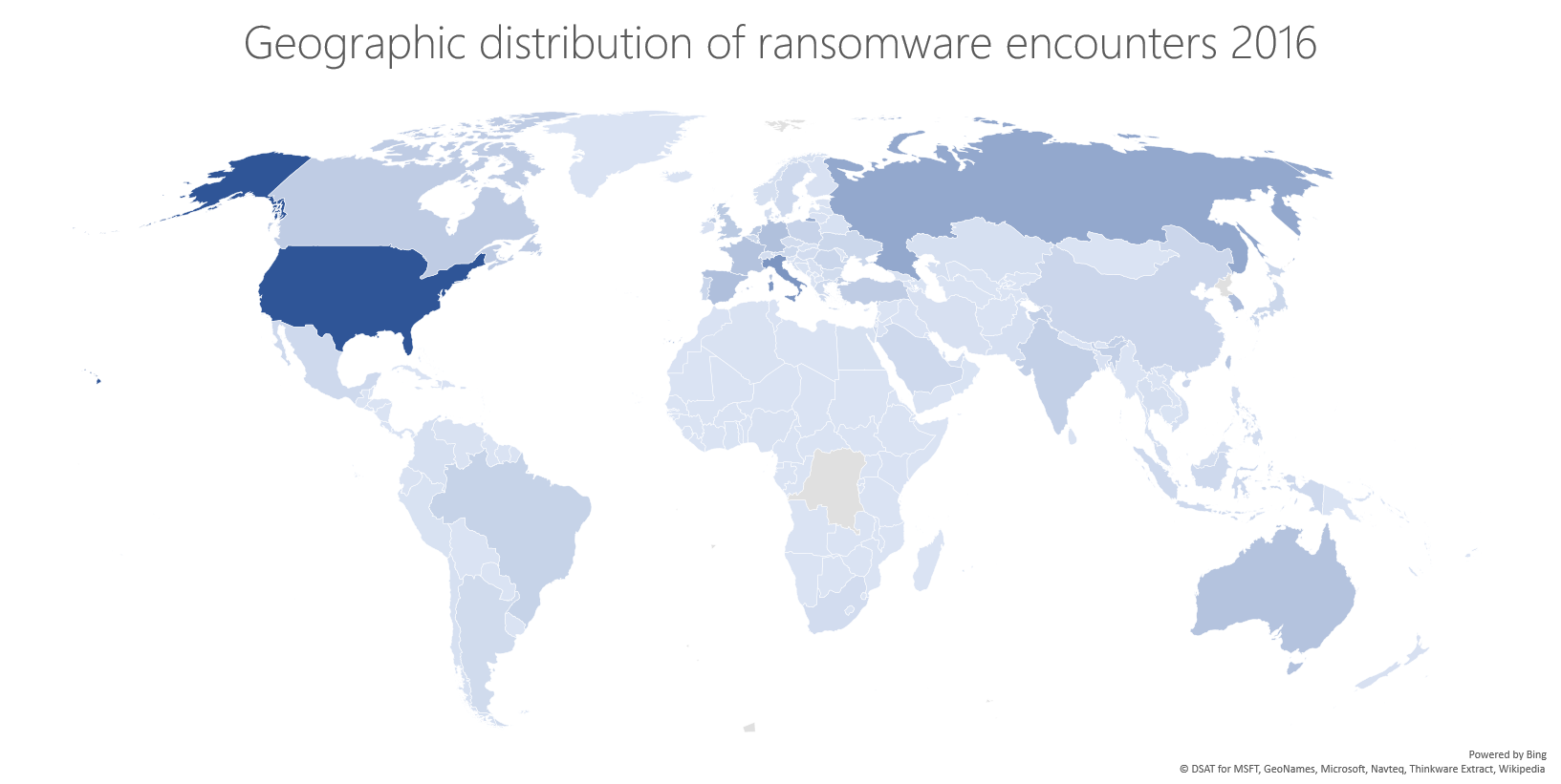 ransomware geographic distribution